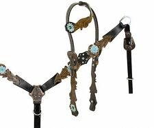 Showman One Ear Headstall Breastcollar with Teal and Copper Accents & Hardware!