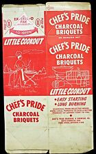 1950's Chef's Pride Charcoal Briquets North Stonington,CT 32 oz Box never folded