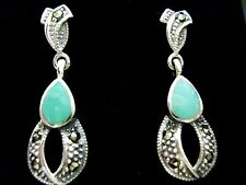 Sterling Silver Turquoise Marcasite 25mm Drop Dangle Earrings Victorian Vintage