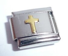 Italian Charm GOLD CROSS - Faith Love Hope fits Classic Size Bracelets N207 9mm