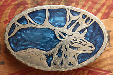 Vintage Hand Made Elk Inlay Western Belt Buckle