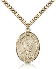 "Saint Louis Marie De Montfort Medal For Men - Gold Filled Necklace On 24"" Cha..."