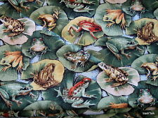 Quilters Only cotton quilt fabric Frog Lilly Pad Creature Comforts half yard cut