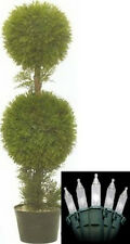 One 3 foot Artificial Cedar Cypress Topairy Tree Potted with Christmas Lights