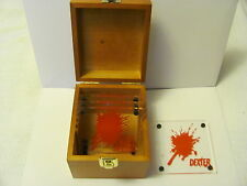 DEXTER Blood Splatter Acrylic Coasters / Slides. Set of 4 in Wood Box. Showtime
