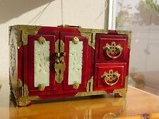 Vintage Chinese Jewelry Cabinet Rosewood Brass & Jade Box with Lock & Key