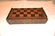 Old Chinese Checkers Chess Backgammon Black Laquer Folding Antique Vintage