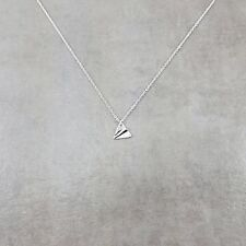 Paper Airplane Silver Plated Necklace in Gift Box Aeroplane Glider Choker Trendy