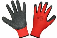 SET OF 12 PAIRS Latex Coated Builders Work Safety Gloves