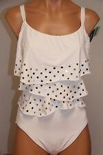 New Coco Reef Swimsuit Bikini 1 one piece Sz 38D Fresh White Ruffle Underwire