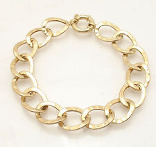 Hammered Curb Style Oval Link Bracelet Real 14K Yellow Gold 8.6 grams!