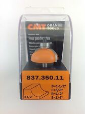 "CMT 837.350.11 Cove Router Bit, 1/4"" Shank, 1/2"" Radius,  Made in Italy"