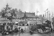 China, STAGE PLAY THEATER BY RIVER TIANJIN JUNK BOATS ~ 1843 Art Print Engraving