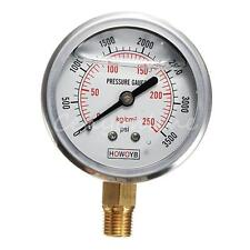 New Hydraulic Liquid Filled Pressure Air Water Gage Gauge 0-3500psi 25000kpa