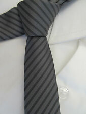 GEORGE GREY STRIPED SKINNY SLIM 2 INCH POLYESTER NECK TIE
