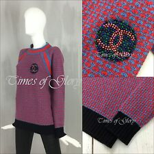 NEW Auth Chanel CC Logo Red Blue Grey CASHMERE Knit Jumper Sweater Size S FR36