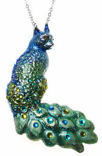 KIRKS FOLLY PEACOCK CAT BIRD PIN / PENDANT / NECKLACE silvertone blue