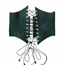 Real Leather Women High Waist Harness Cincher Belt Corset Adjustable Size BLACK