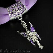 Scarf Ring, Pendant, Clip, Retro Antique Silvertone Fairy,Purple Enamelled Wings