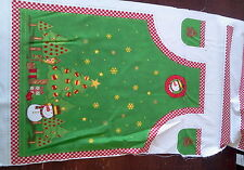 """""""Country Christmas Child's Apron""""  Holiday/ Snowman 100% Cotton Fabric Panel"""