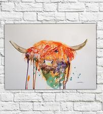 PAINTINGS ORIGINAL WATERCOLOUR PAINTING SIGNED LARGE HIGHLAND COW ABSTRACT NEW