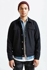 Urban Outfitters Kill City Black Leather Collar Wool Trucker Jacket Men's Small