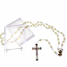 Luminous glow in the dark rosary beads extra strong Catholic necklace