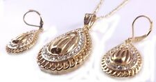 Name Of God Allah in Arabic Chain Necklace Pendant & Earrings Set Islamic Gold
