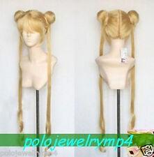 New Cosplay golden mixed ☆Sailor Moon heat resistant wig 100cm