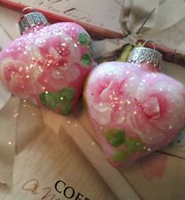 Hp Shabby Roses Christmas Hearts Ornaments Pink Roses 2pc Set  Hand Painted Chic