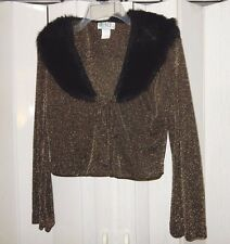 TOWER BROWN & GOLD GLITTER BLACK FUR COLLAR TIE FRONT LONG SLEEVE SHRUG SZ S