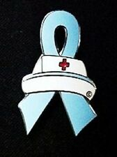 Nurse Cap Pin Light Blue Awareness Ribbon Prostate Cancer Trisomy 18 Cause New