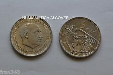 MONEDA de 5 pesetas 1957  *74 Franco SC / SPAIN km#786 UNC