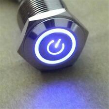 12V 16mm Blue LED Power Symbol Angel Eye Push Button Metal ON/Off Switch GG
