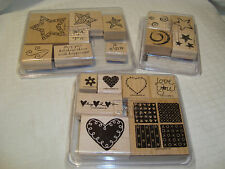Lot of 18 Stampin' Up! Stamps/Make a Wish/Loving Hearts/Stars & Stripes Sets NEW