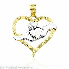 Claddagh Heart Pendant - Solid 10k Yellow Gold - NEW Celtic Irish Crown Love