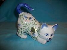 Andrea By Sadek Ceramic Cat Bank~Blue & White w/butterflies & leaves~tagged