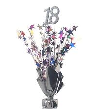 "2 Multicolored with Stars 18th Anniversary or Birthday Balloon Weights  15"" tall"