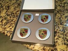 Set of (4) Porsche OEM factory silver / color wheel center caps