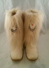 Hairy off White Hairy Fur sz 10 with Indian beads on front