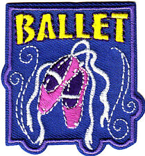 """BALLET"" W/SLIPPERS - Iron On Embroidered Applique Patch/ Music, Dance, Ballet"