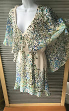 Free People NWT Ivory Comb Floral Mini Dress (Fabric tear at neck see pics) Sz S