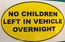 No los niños abandonados en vehículo durante la noche divertida Van Auto Adhesivo