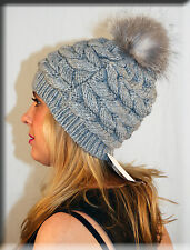 New Gray Cable Knit Beanie Indigo Fox Fur Pom Pom Efurs4less