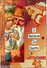 ACEO ATC Art Card Collage Print Christmas Believe In Santa Boy Toy Sword SALE