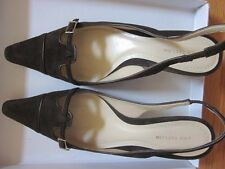 -Ann Taylor Suede&Leather Brown Slingback Pumps Size 7 1/2