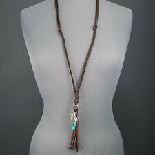 Real Leather Braided Silver Finish Deer Antler Tassel Turquoise Pendant Necklace