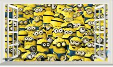 60x100cm Minions Despicable Me 3D Window Kids Wall Decals Stickers Party Decor