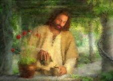 Perfect Oil painting male portrait Christ Jesus watering the plants in landscape