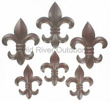 "6 pc. Set Metal Fleur De Lis Wall Plaques - 6"" & 8"" - Rustic Creole Saints Decor"